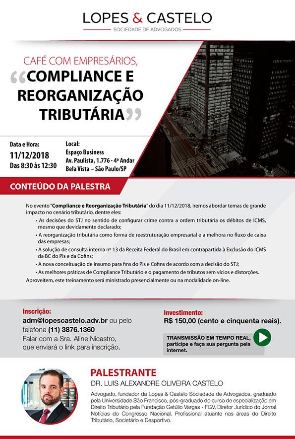 """Dia 11/12 – Palestra """"Compliance e Reorganização Tributária"""""""