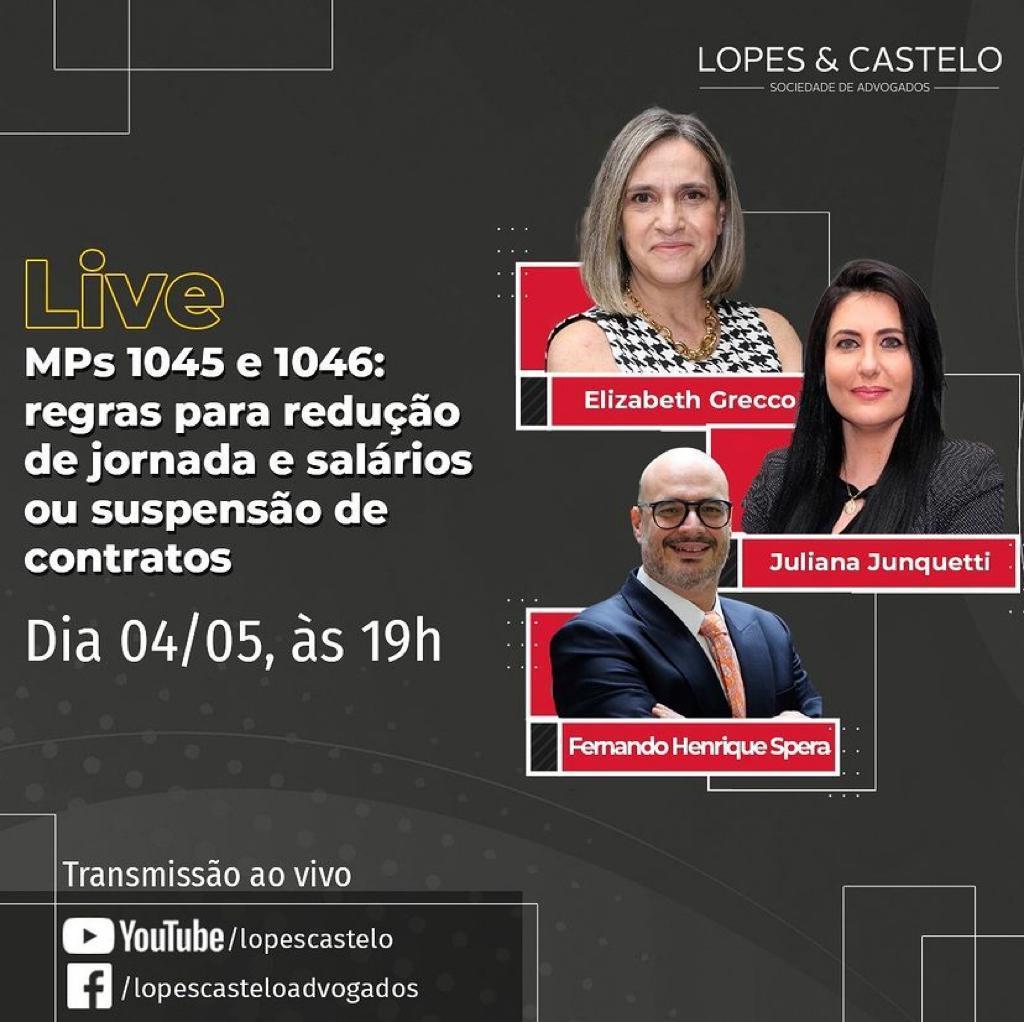 Live – MPs 1045 e 1046: regras para redução de jornada e salários ou suspensão de contratos – Dia 04/05, às 19h