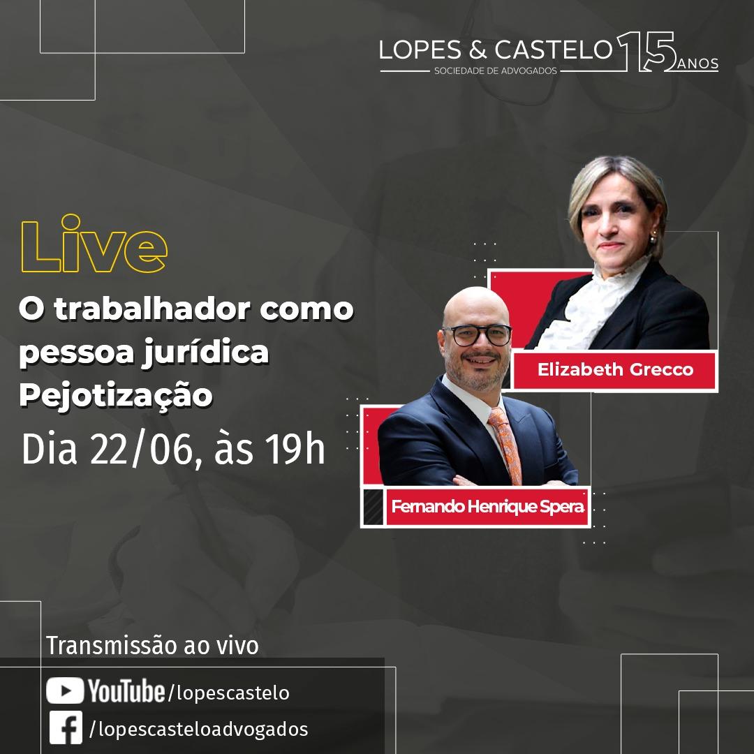 """LIVE –  O trabalhador como pessoa jurídica """"Pejotização"""""""