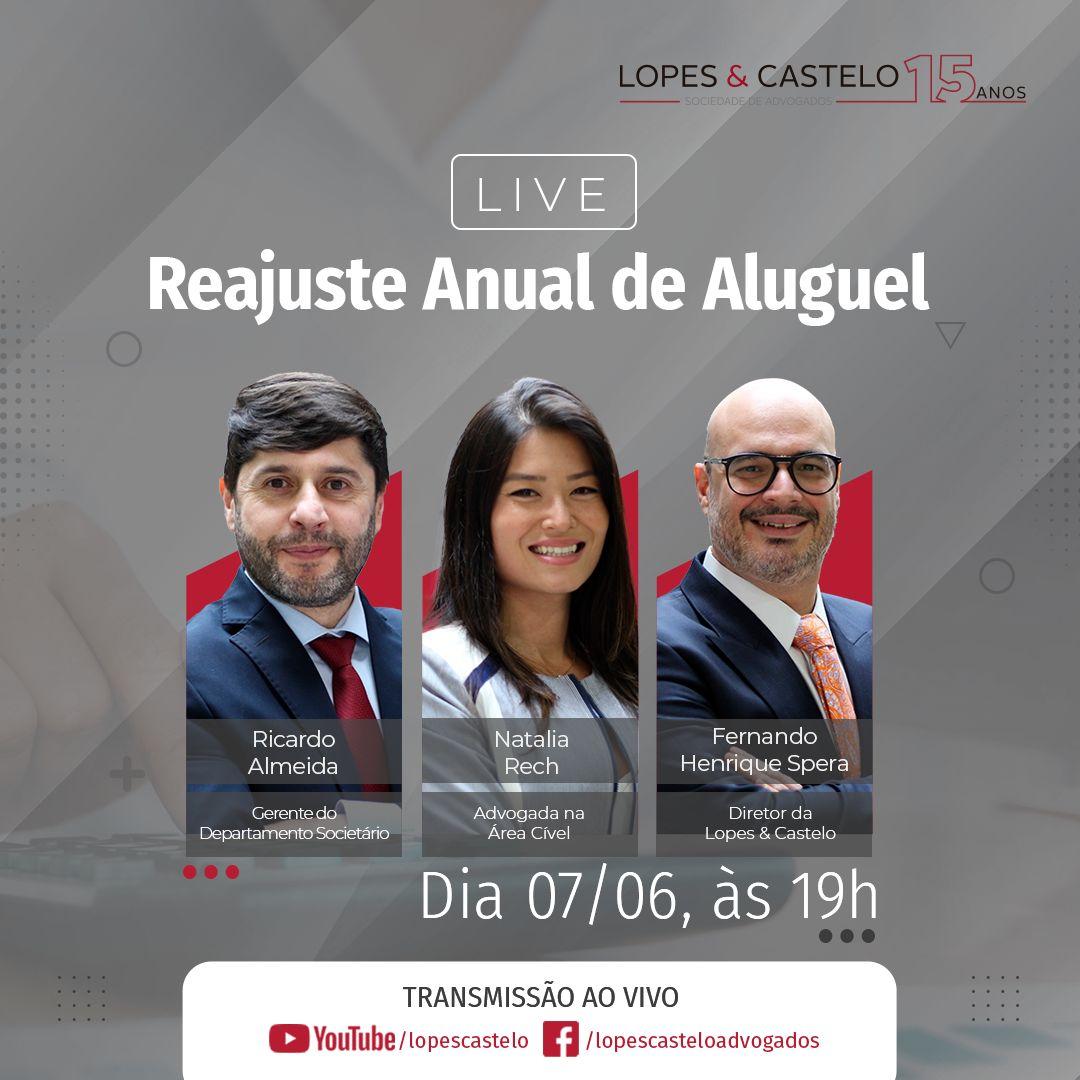 LIVE – Reajuste Anual de Aluguel – Dia 07/06 às 19h